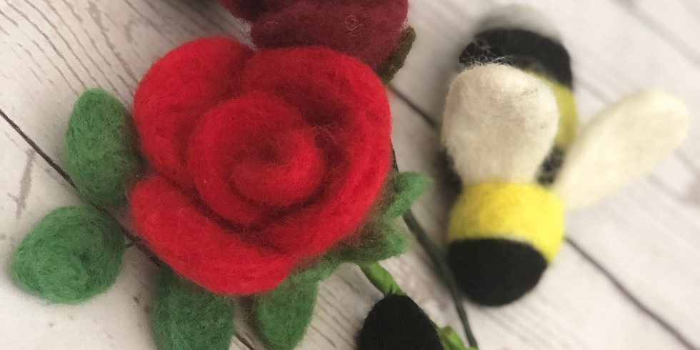 Flower and Bee needle felting at The Creative Coffee Hub