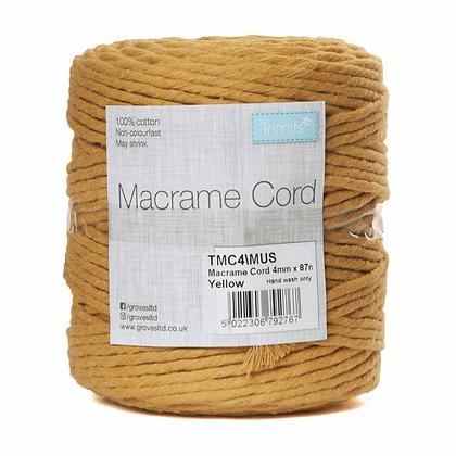 Trimits TMC4\MUS Macramé Cord: 87m x 4mm: 0.5kg: Mustard