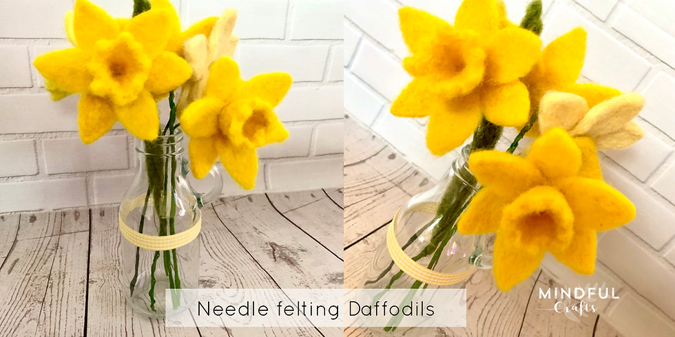 Daffodil needle felting workshop at Bumbles Coffee, Studley