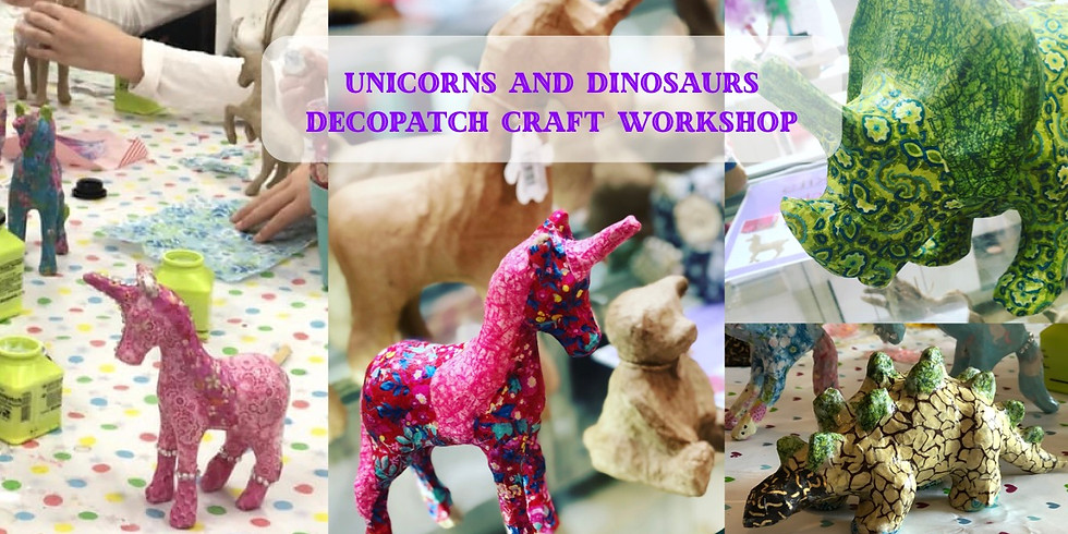 Unicorn and Dinosaurs Decopatch Craft at The Creative Coffee Hub
