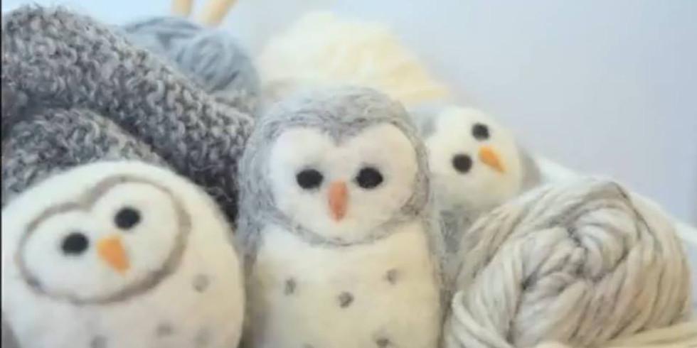Owl Needle Felting workshop at The Creative Coffee Hub
