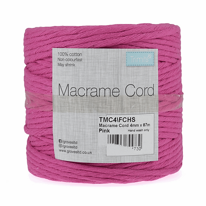Trimits TMC4\FCHS Macramé Cord: 87m x 4mm: 0.5kg: Fuchsia