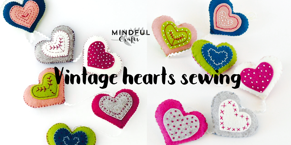 Vintage heart sewing workshop at Changes Coffee Shop