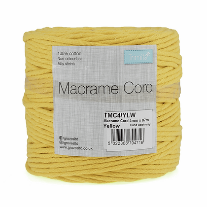 Trimits TMC4\YLW Macramé Cord: 87m x 4mm: 0.5kg: Yellow