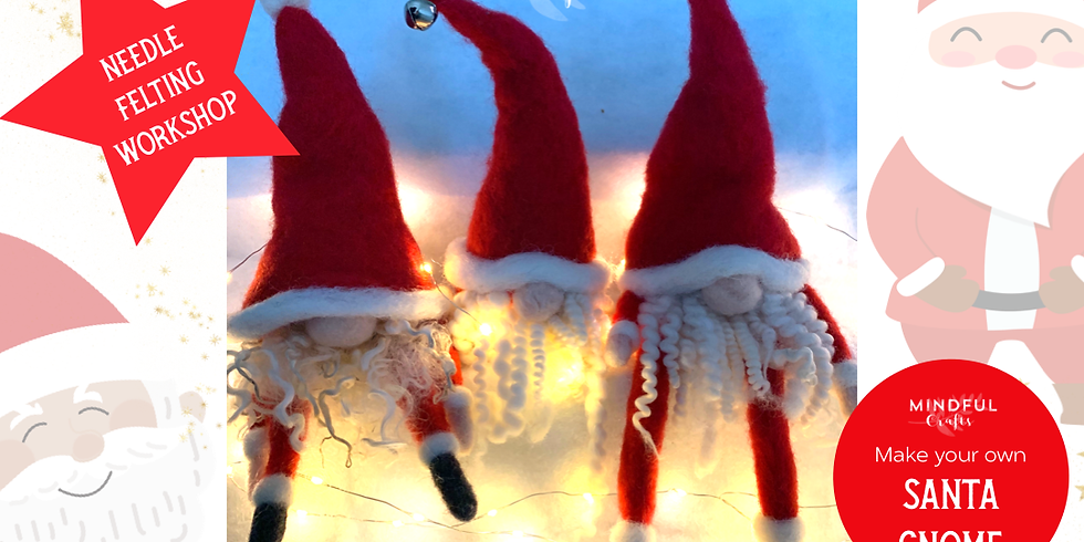 Needle felting Christmas Gnome workshop at Changes Coffee Shop