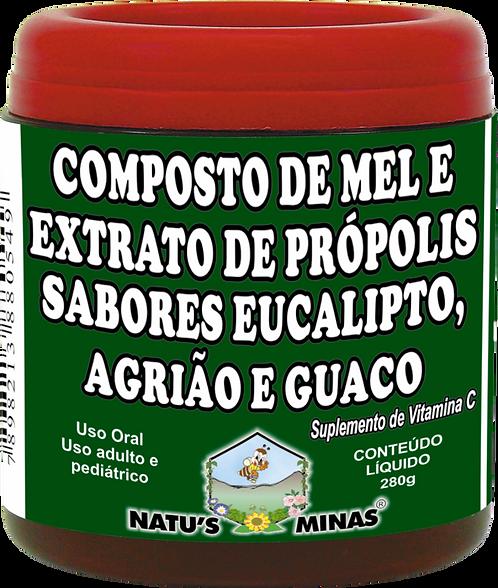 COMPOSTO DE MELE EXTRATO DE PRÓPOLIS - SABORES EUCALIPTO, AGRIÃO E GUACO