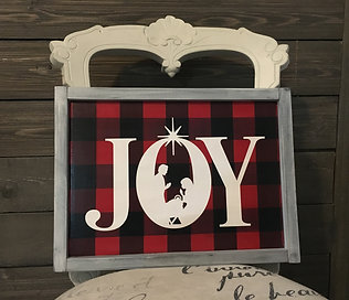 Framed JOY Nativity on Buffalo Plaid Hand Painted Sign