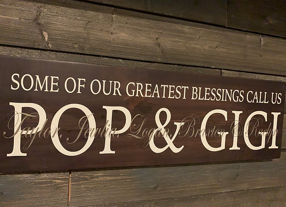 Greatest Blessings Grandparents' Custom Sign