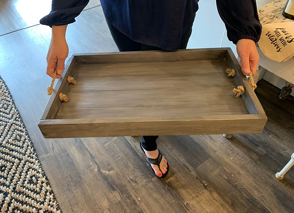 Handcrafted Wood Tray with Rope Handles