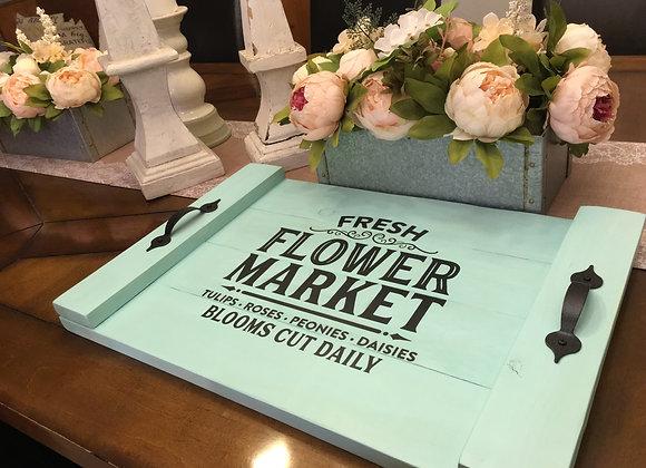 Hand Painted Farmhouse Tray - Flower Market
