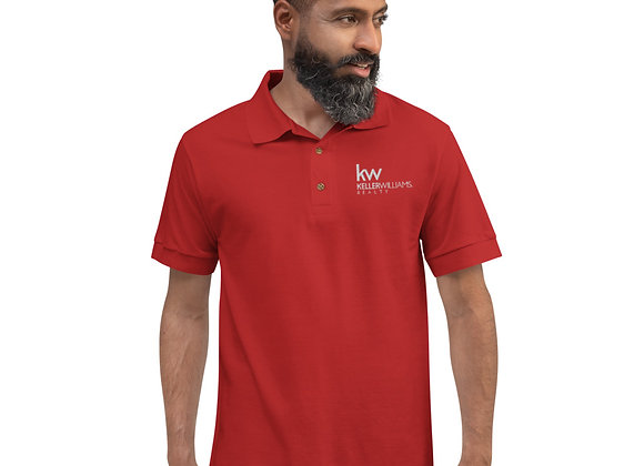 Red Polo Shirt, embroidered with all white Keller Williams logo