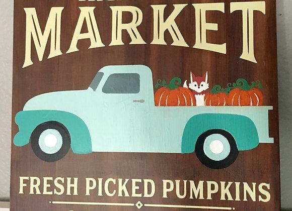 Harvest Market Blue Truck Hand Painted Sign