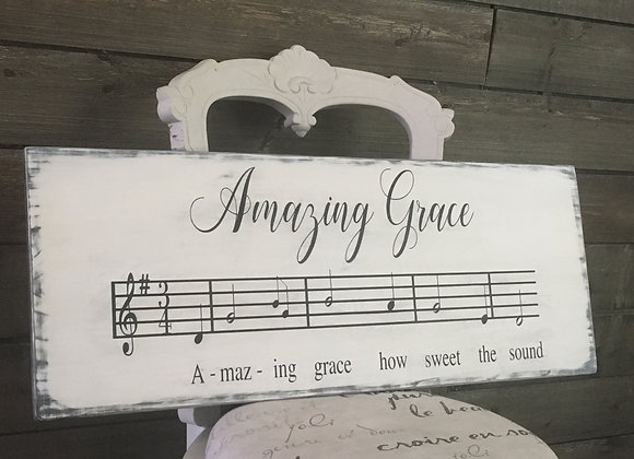 Amazing Grace Hand Painted Farmhouse Style Sign