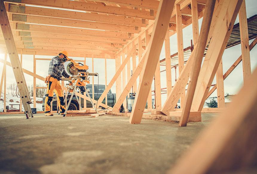Caucasian Contractor Carpenter Worker in