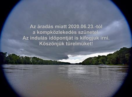 A Tisza áradása miatt átmenetileg szünetel a komp Tiszacsege és Ároktő között
