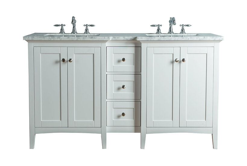 """Tower Modern 60"""" White Double Sink Vanity"""