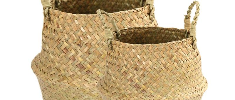 Cesto de armazenamento de bambu artesanal para roupas dobráveis Cesto de roupa suja de palha