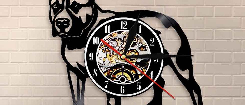 Pitbull Home Wall Decorativo Wall Clock Dog / American Bully Forma LED