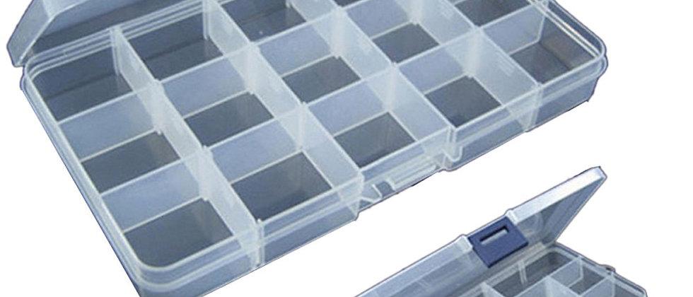 Equipamento de pesca de armazenamento de caixa de equipamento de plástico ajustável de 15 slots.