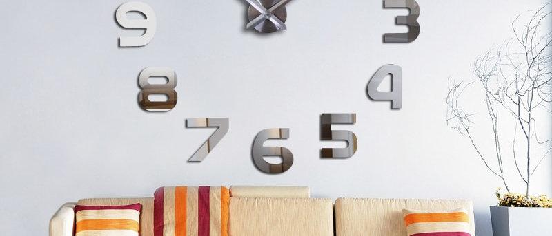 नई 3 डी दीवार घड़ी डिजाइन बड़े एक्रिलिक मिरर घड़ियों स्टिकर लिविंग रूम