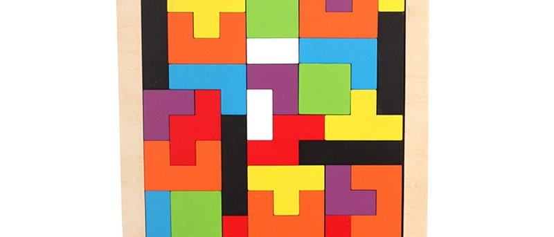 Brinquedo educacional de matemática de tangram de madeira colorido 3D quebra-cabeça