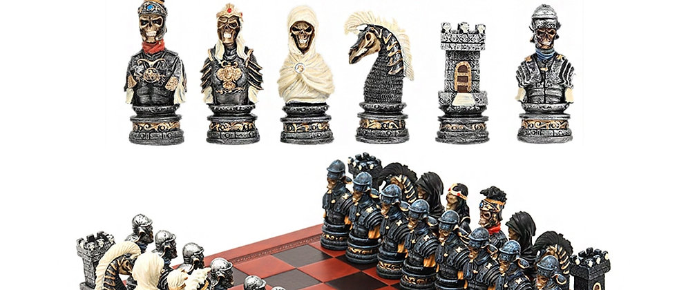 Conjunto de xadrez com tema fantasma luxuoso pintado à mão