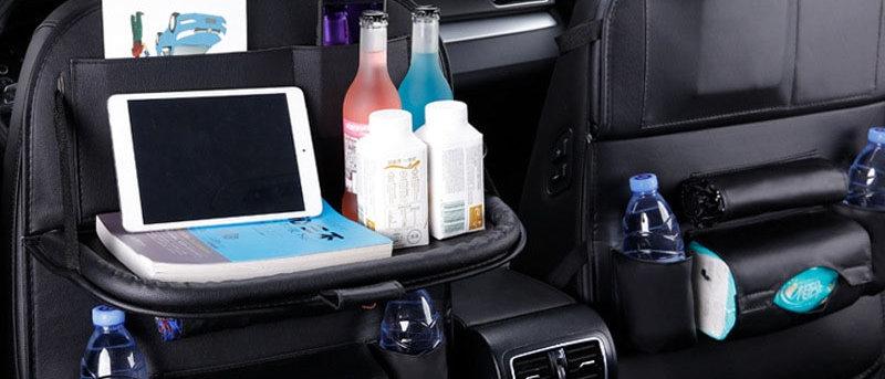Car Seat Back Foldable Table Tray Organizer Pu Leather Pad Bag