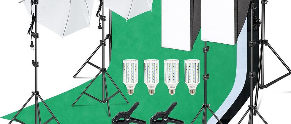Kit de iluminação Studio Softbox com moldura de fundo 2.6x3M