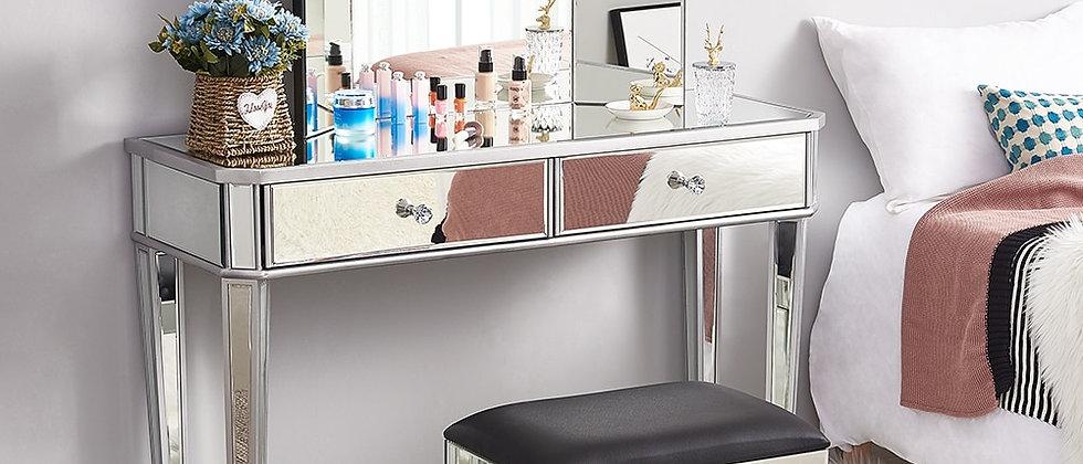 मिरर ग्लास ड्रेसिंग टेबल 2 दराज 3 तह टेबल स्टूल बेडरूम ड्रेसर
