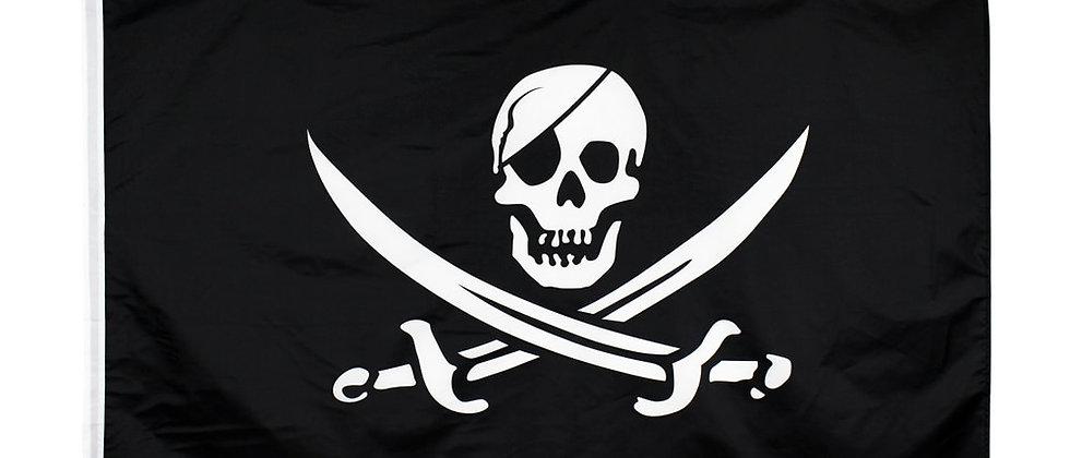 90 * 150 सेमी समुद्री डाकू झंडा / जैक रैकहम खोपड़ी की हड्डी