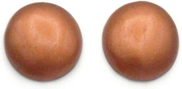 Soft Copper Wood Button Earrings
