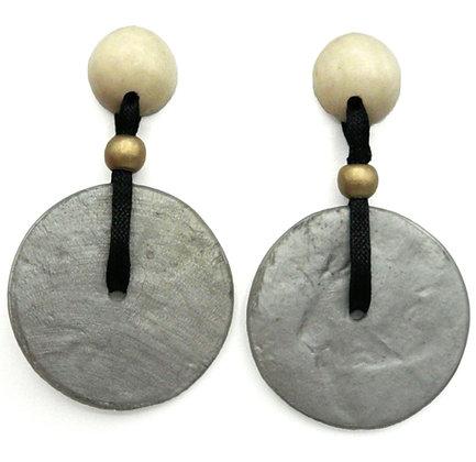 Capiz Shell Disc Earrings - White & Silver