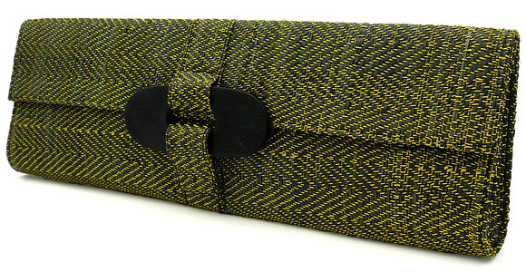 Gold Herringbone Clutch Bag