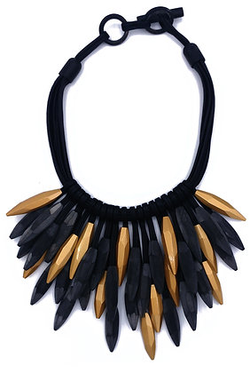 Black and Gold Thorns Necklace