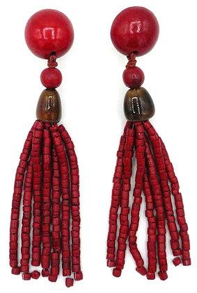 Lava Red Tassel Earrings