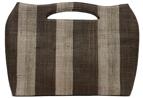 Sophisticated Weaved Bag Brown Stripes