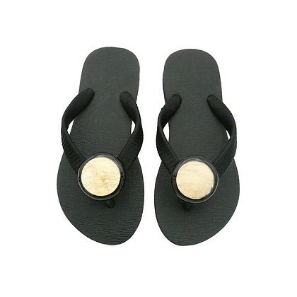 Champagne Capiz Shell Button Sandals