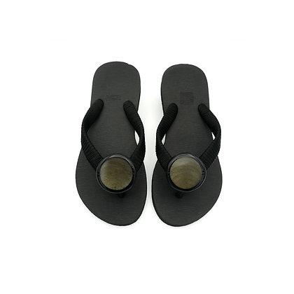 Grey Capiz Shell Button Sandals