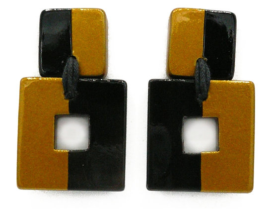 Square Gold Horn Earrings