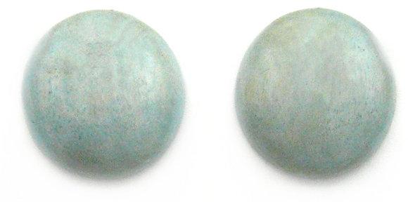 Aqua Wood Button Earrings