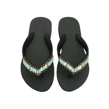 Turquoise Beads Black Sandals