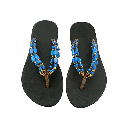 Royal Blue Beads Straps Sandals