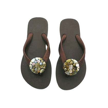 Brown Mother of Pearl Polka Dots Button Sandals