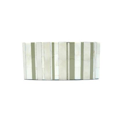 White Stripes Shell Evening Bag