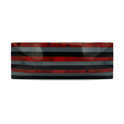 Red Shell Stripes Evening Bag