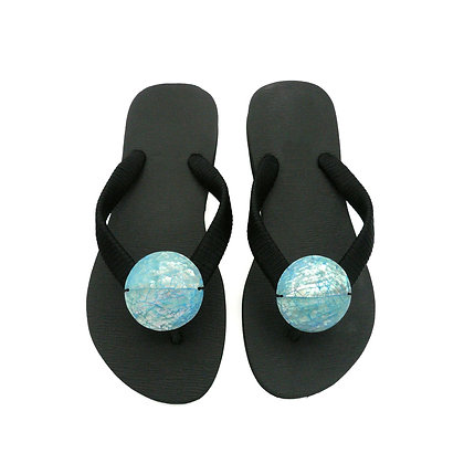 Glacial Blue Abalone Shell Button Sandals