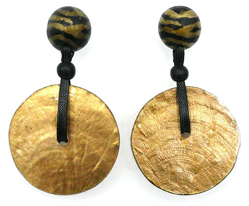 Capiz Shell Disc Earrings - Gold Zebra