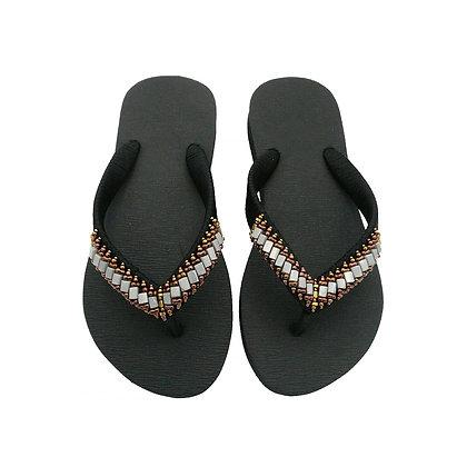 Grey Beads Black Sandals
