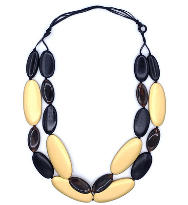 Black and Gold Pebbles Necklace