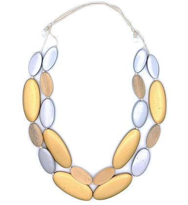 Silver and Gold Pebbles Necklace